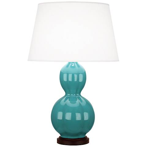 Randolph Teal Table Lamp with Walnut Wood