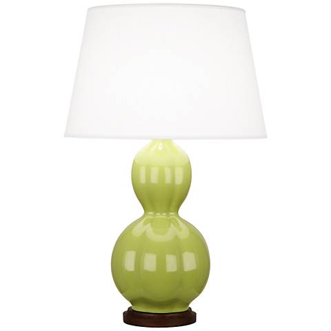Randolph Ceramic Green Table Lamp with Walnut Wood
