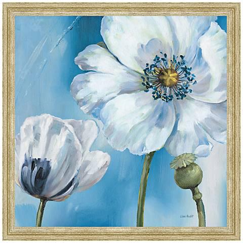 "Blue Dance III Framed 24"" Square Canvas Wall Art"
