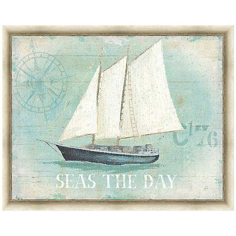 """Seas the Day 28"""" Wide Framed Canvas Wall Art"""