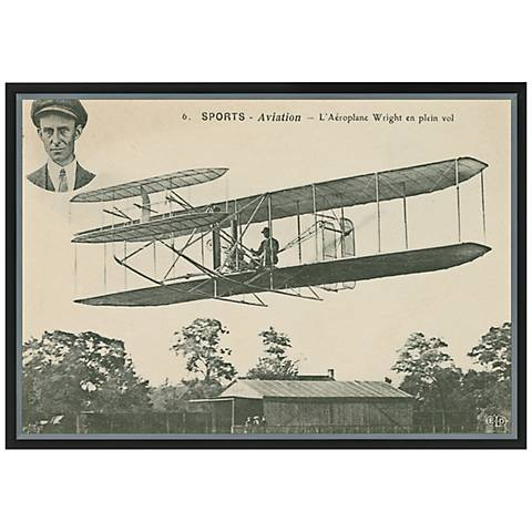 """Wright Brothers Biplane I 36"""" Wide Framed Canvas Wall Art"""