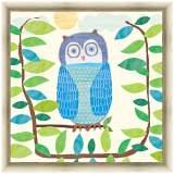 "Blue Owl 24"" Square Light Gold Framed Canvas Art"