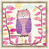 """Pink and Purple Owl 24"""" Square Light Gold Framed Canvas Art"""