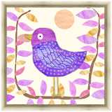 """Pink and Purple Bird 24"""" Square Gold Framed Canvas Art"""