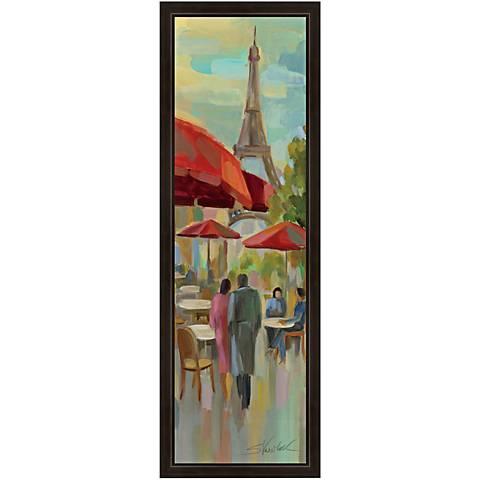 "A Stroll in Paris II 36"" High Black Framed Canvas Art"