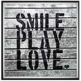 """Smile Play Love 24"""" Square Framed Canvas Wall Art"""