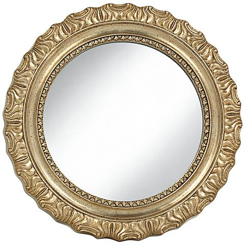 "Del Rey Champagne Gold 25 1/4"" Round Wall Mirror"