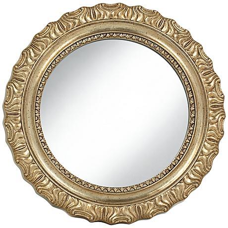 "Del Rey Champagne Gold 25 1/4"" Round Wall Mirror"