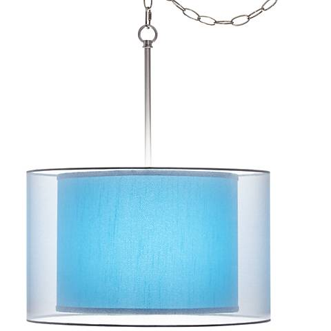 "Teal Blue Faux Silk Double Shade 18"" Wide Swag Pendant"