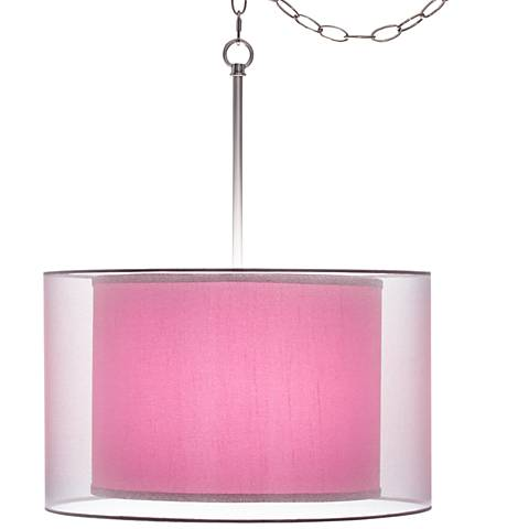 "Pink Orchid Faux Silk Double Shade 18"" Wide Swag Pendant"