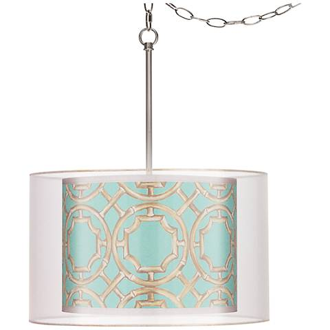 "Teal Bamboo Trellis Double Shade 18"" Wide Swag Pendant"