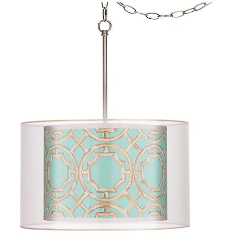 """Teal Bamboo Trellis Double Shade 18"""" Wide Swag Pendant"""