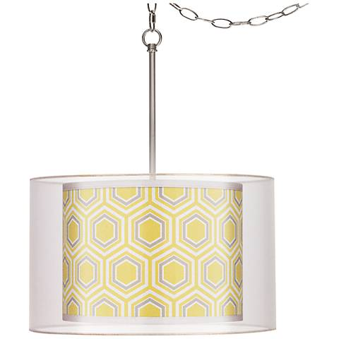 "Honeycomb Double Shade 18"" Wide Giclee Glow Swag Pendant"