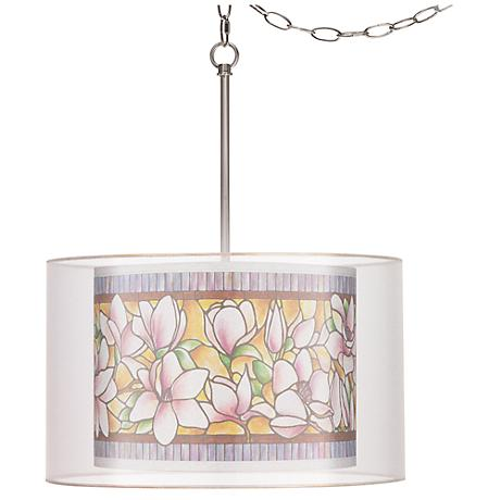 "Garden Garland Double Shade 18""W Giclee Glow Swag Pendant"