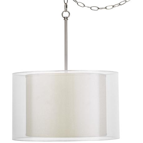 "Sesame Faux Silk Double Shade 18"" Wide Swag Pendant"
