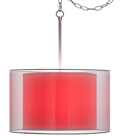 """China Red Textured Silk Double Shade 18"""" Wide Swag Pendant"""