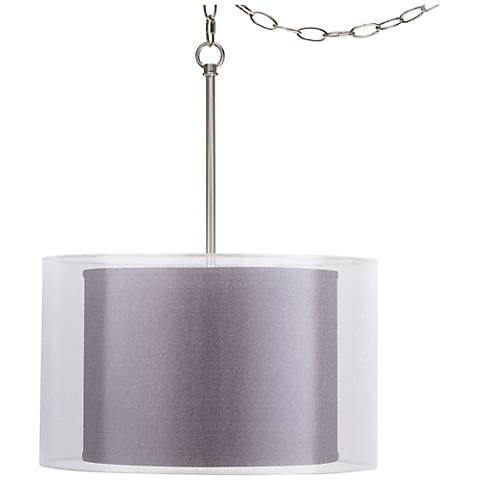 "Eggplant Faux Silk Double Shade 18"" Wide Swag Pendant"