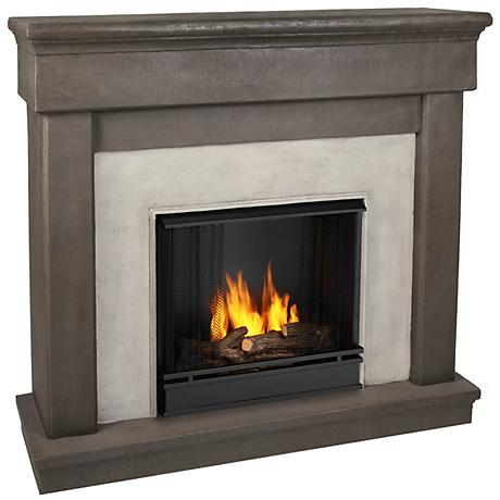 Real Flame Cascade Dune Stone Mantel Gel Cast Fireplace