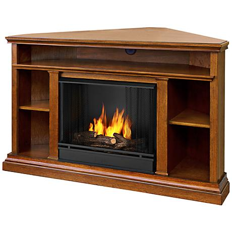 Real Flame Churchill Media Center Oak Corner Gel Fireplace
