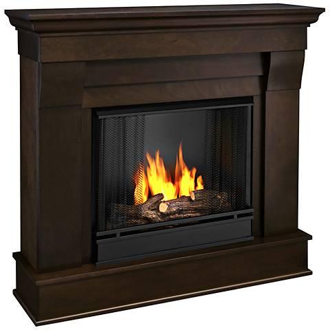 Real Flame Chateau Dark Walnut Mantel Gel Fireplace