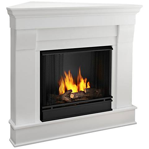 Real Flame Chateau White Mantel Corner Gel Fireplace