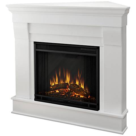 Real Flame Chateau White Mantel Corner Electric Fireplace
