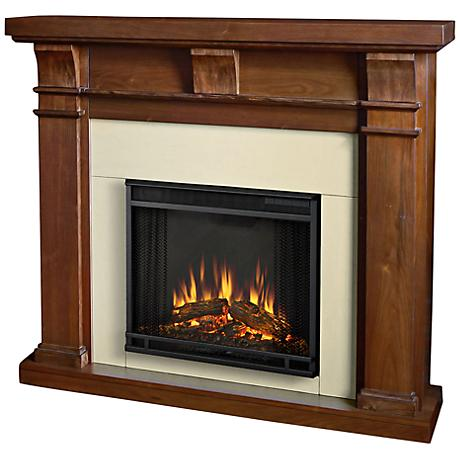 Real Flame Porter Walnut Mantel Electric Fireplace