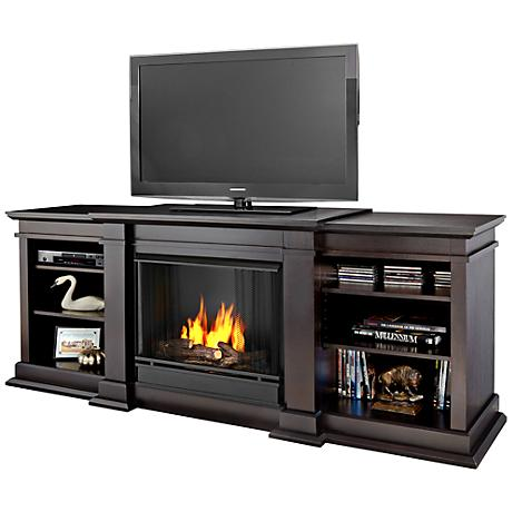 Real Flame Fresno Dark Walnut Entertainment Gel Fireplace
