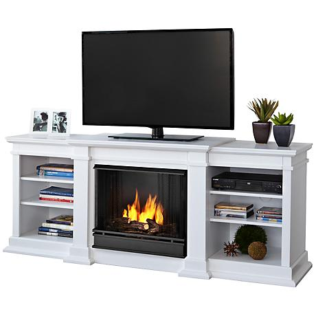 Real Flame Fresno White Entertainment Gel Fireplace