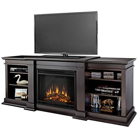 Real Flame Fresno Walnut Entertainment Electric Fireplace