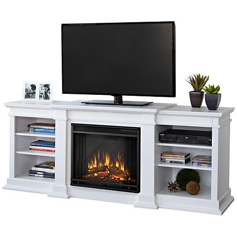 Real Flame Fresno White Entertainment Electric Fireplace