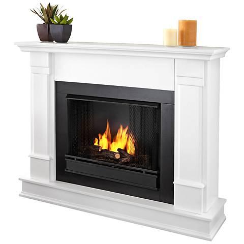 Real Flame Silverton White Mantel Gel Fireplace