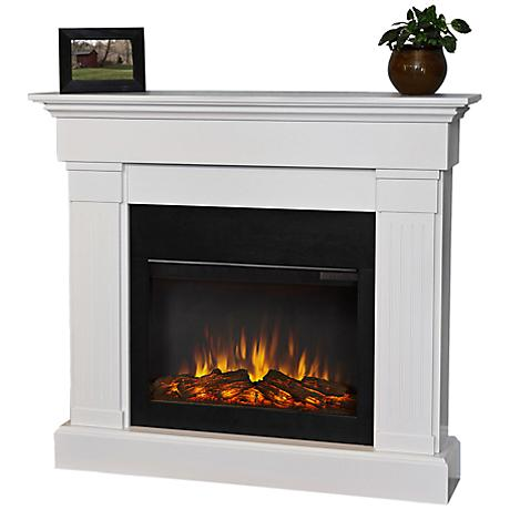 Real Flame Crawford Slim Line White Electric Fireplace