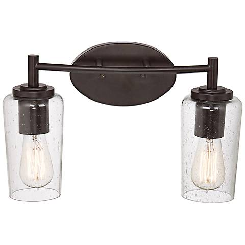 "Quoizel Edison 16"" Wide Bronze 2-Light Bathroom Fixture"