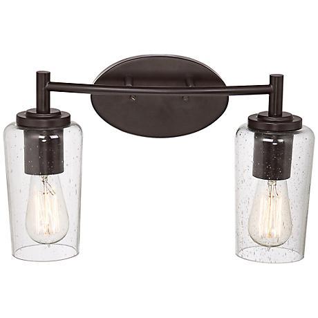 "Quoizel Edison 16"" Wide Bronze 2-Light Bathroom Fixture"
