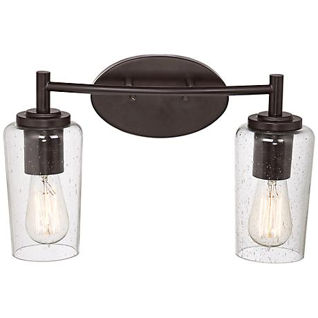 Quoizel Edison 16 Wide Bronze 2 Light Bathroom Fixture 6t343 Lamps Plus