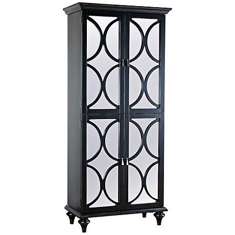 Pulaski Trouse Black Mirror 4-Door Storage Wine Cabinet
