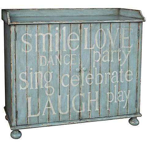 Pulaski Mesane Light Blue Hand painted Plank Wine Cabinet
