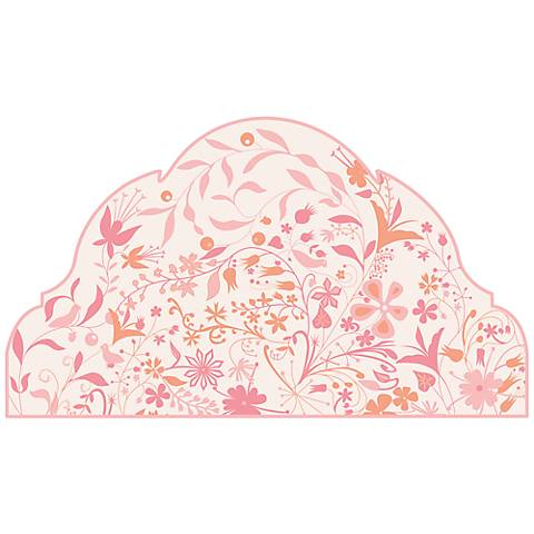"""Pink Garden 60"""" Wide Queen Headboard Removeable Wall Decal"""