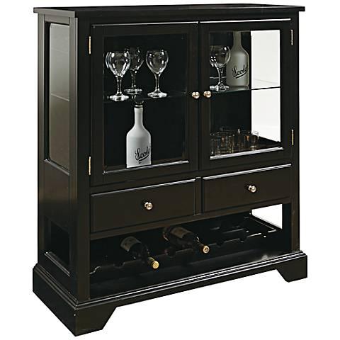 Jimson Dark Leo Bevel Glass 2-Door Storage Wine Cabinet
