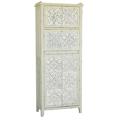 Pulaski Historia White Antique Tin Panel Tall Accent Cabinet