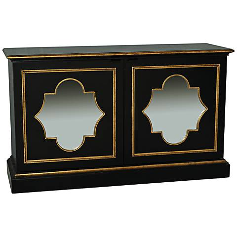 Neoclasse Black and Gold Mirror Console Storage Chest