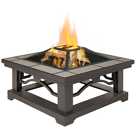 Real Flame Crestone Gray Tile Wood Burning Fire Pit