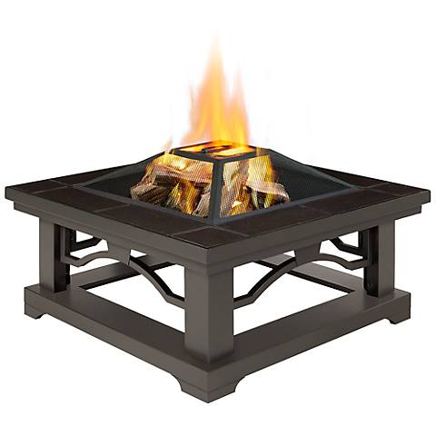 Real Flame Crestone Brown Tile Wood-Burning Outdoor Fire Pit