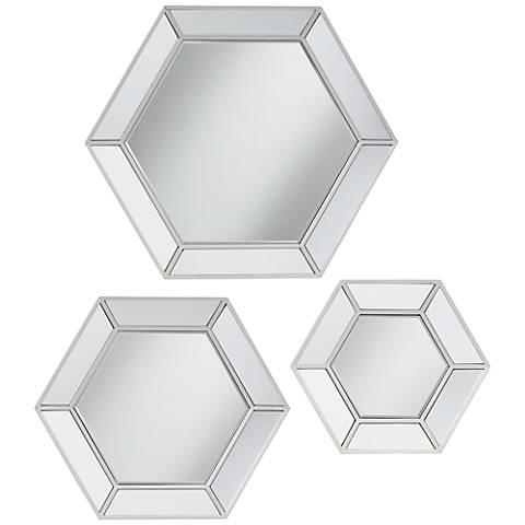 Wellford Silver 3-Piece Hexagonal Mirror Set