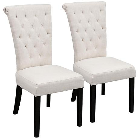 Charlotte Light Beige Linen Tufted Dining Chair Set of 2
