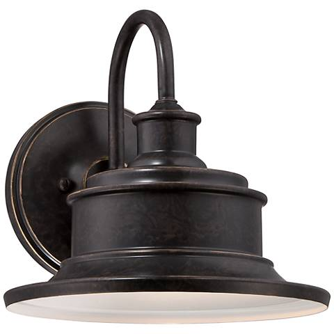 "Quoizel Seaford 11"" High Bronze Outdoor Wall Light"