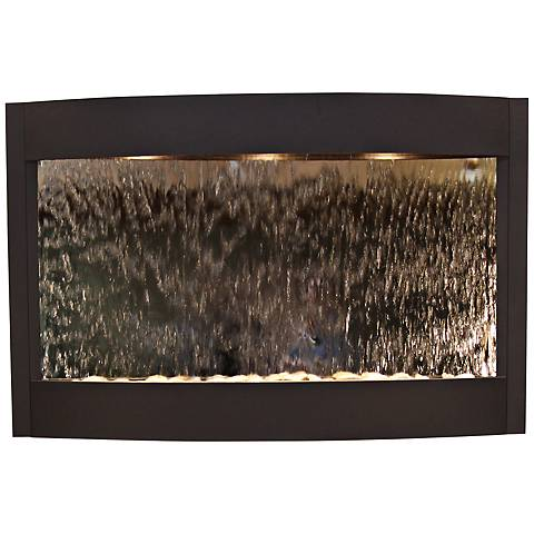 "Calming Waters Mirrored Textured Black 35""H Wall Fountain"