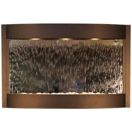 """Calming Waters Mirrored Antique Bronze 35""""H Wall Fountain"""