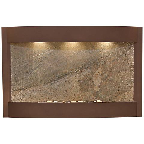 """Calming Waters Green Stone Woodland Brown 35""""H Wall Fountain"""